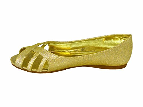 Ladies Flat Slip ON Wedding Party Bridesmaid Bride Comfy Shoes PEEP Toe Slider Gold (R1) P0AJjXPCa