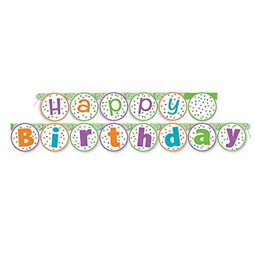5.5ft Citrus Polka Dot Happy Birthday Banner - Polka Dot Wall Letters
