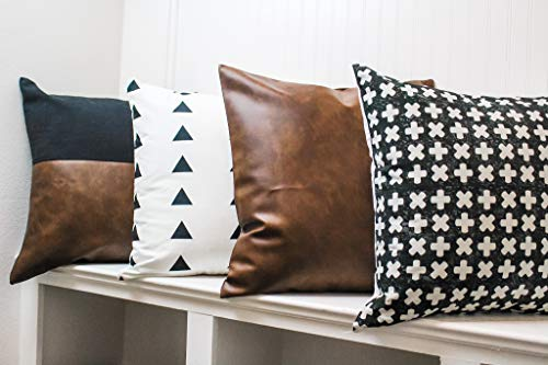 RuffledThread Linen & Faux Leather Throw Pillow Covers - Set of 4 - 18x18 Inches - Decorative Couch Pillow Cases for Modern Décor with Geo Prints
