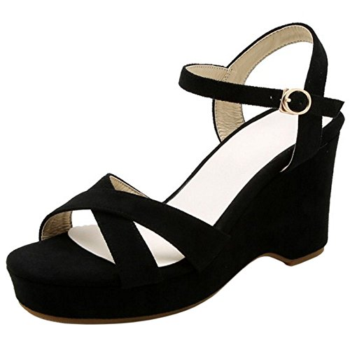 Platform TAOFFEN 2 Sandals Fashion Black Women w0wxFqPY