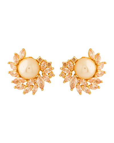 Colors Voylla Navrang Earring Pair In Yellow Gold Finish