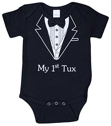 - Ganz My First Tux Newborn Baby Boy Tuxedo Snap Onepiece, Black, 0-6 Months