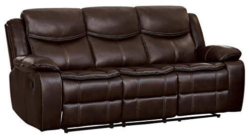 "Homelegance 88"" Manual Double Reclining Sofa, Brown from Homelegance"