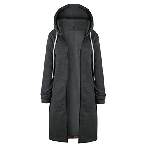 Long Sleeve Jacket,Gillberry Women's New Coat A-Lined Overcoat Hoodies Sweatshirt with Zipper (Gray, 5XL) by Gillberry Women's Jacket