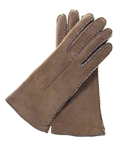 Fratelli Orsini Women's Handsewn Sueded Lamb Shearling Gloves Size 7 Color Hazel by Fratelli Orsini