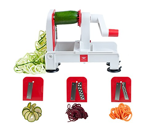 Paderno World Cuisine 3-Blade Folding Vegetable Slicer/Spiralizer Pro, Counter-Mounted and includes 3 Different Stainless Steel Blades