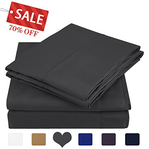 HOMEIDEAS 4 Piece Bed Sheet Set (Full,Gray) 100% Brushed Microfiber 1800 Bedding Sheets Deep Pockets,Wrinkle & Fade Resistant