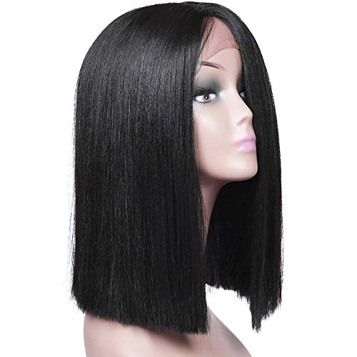 "(Armmu 16"" Short Bob Black Lace Front Wigs for Women 100% Synthetic Hair Yaki Silky Straight Full Wigs Shoulder Length Natural)"