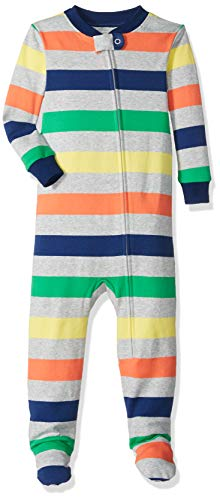 Amazon Essentials Baby Zip-Front Footed Sleeper, Multi Stripe Grey, 12-18M