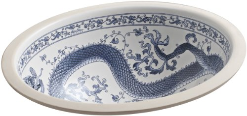 (KOHLER K-14218-VB-0 Imperial Blue Design on Caxton Undercounter Bathroom Sink, White)