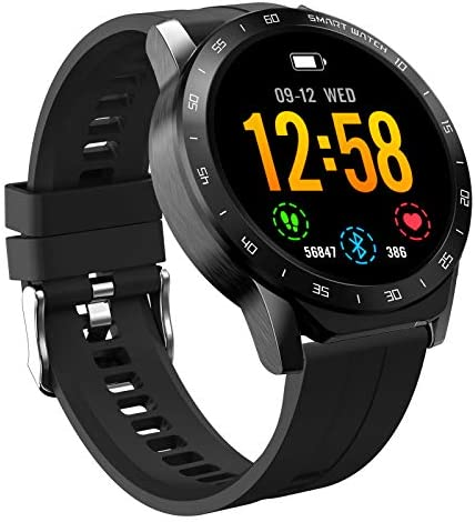 "Smart Watch Fitness Tracker Watch- HAOQIN HaoWatch VS1 1.3"" Full Touch Screen IP67 Waterproof Smart watchs with Heart Rate Monitor Step Sleep Tracker Pedometer Compatible iPhone Android Phones Black"
