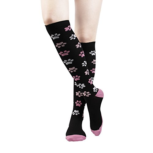 Graduated Compression Socks for Men & Women Unisex 15-20 mmHg Medical Grade Stocking Recovery Athletic Travel Socks (Footprint, L/XL) (Pattern Grade Ribbed)