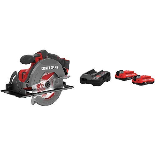 CRAFTSMAN V20 6-1 2-Inch Cordless Circular Saw with Battery Charger Starter Kit, 2.0 Ah CMCS500B CMCB202-2CK