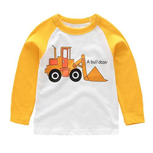 HowJoJo Little Boys Long Sleeve Cotton T-Shirts Bulldozer Shirt Graphic Tees 4T by HowJoJo