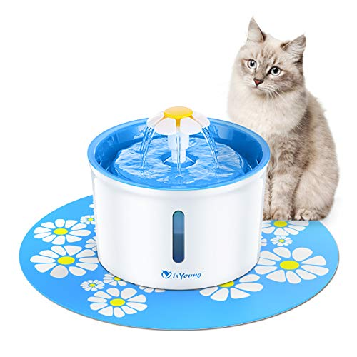 isYoung Cat Fountain 1.6L Automatic Pet Water Fountain Pet Water Dispenser, Dog/Cat Health Caring Fountain and Hygienic Dog Fountain (Blue)