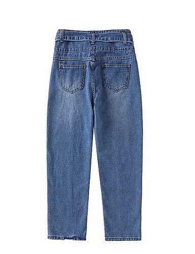 Blue tinta Jeans donna YFLTZ unita alta da larghi Pantaloni Harem Vita xpR8RwPq