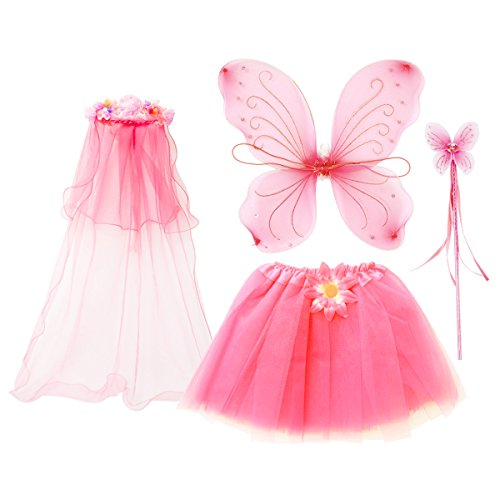 fedio 4Pcs Girls Princess Fairy Costume Set with Wings, Tutu, Wand and Floral Wreath Veil for Children Ages 3-6 (Fairy Princess Costume Halloween)