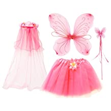 fedio Girls Princess Fairy Costume Set with Wings,Tutu,Wand and Floral Wreath Veil for Children Ages 3-6 (Pink)
