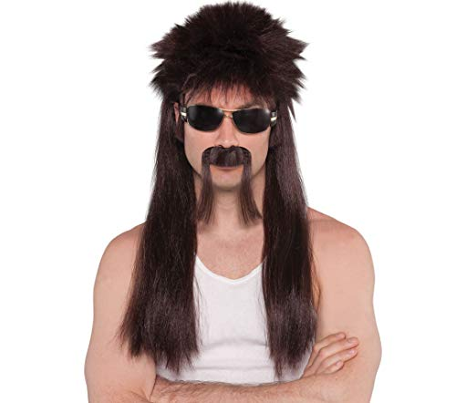 (AMSCAN Mullet Moustache and Wig Halloween Costume Accessories, Brown, One)