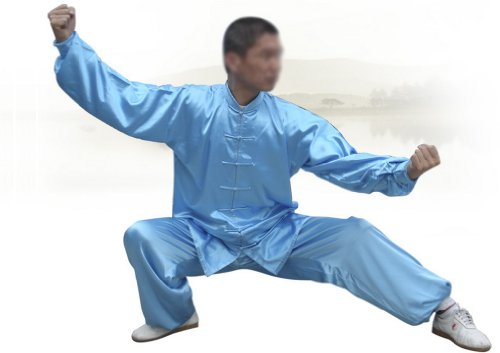 """Tai Chi Uniform - luxurious Korean Silk, stretch TaiChi suits, Traditional Tai Chi Clothing for your Tai Chi Exercise, 12 colors and styles, Black, White, Red, Pink, Claret, Shocking Pink, Gold Yellow, Light Yellow, Mazarine, Lake Blue, Light Sky Blue, Lilac Purple, White with Red Cuff and Frogs Button (Lake Blue, Small(5'1"""" - 5'4&quot..."""