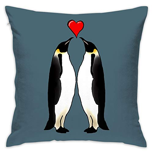 (Throw Pillow Covers Particular Penguin Couple 18 X 18 Inches Cushion Sham for Couch Bed Sofa Painted Colorful Geometric Print Daily Decorations for Home D¨¦cor Square Coastal Cushion)