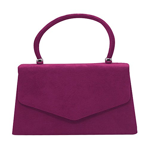 red Wiwsi Handbag Party Lady Color Bag Clutch Leather Handle Suede Various Purse Tote Hot OqaOwrA