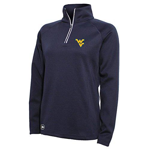 Crable NCAA West Virginia Mountaineers Women's 1/4 Zip Tech Interlock Pullover, Small, Navy