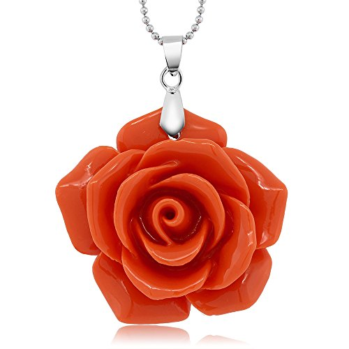 30MM Simulated Pink Coral Carved Rose Flower Pendant Necklace With 18 Inch Chain