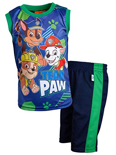 Nickelodeon Paw Patrol Boys 2-Piece Sublimation Tank Top and Shorts Set, Team Paw Patrol, Size 4'