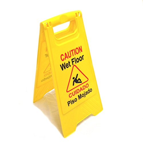Hero Neon Yellow Caution Wet Floor Sign - Double Sided Warning Sign