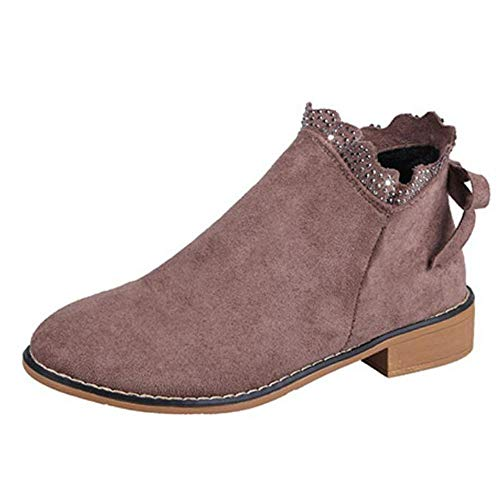 Bazhahei Bow Bout Mode Cheville Kaki Casual En Daim 6 2 Chaussures Dentelle Plates Enfiler Sexy Femmes Rond Simple 5 Bottes 5 Mocassins Taille rCwCtYq