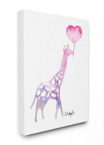 The Stupell Home Decor Collection Watercolor Balloon Giraffe Stretched Canvas Wall Art ()