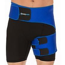 BODYMATE Groin Strain Support BioCompression Recovery from Sciatic Nerve Pain, Neoprene Hernia, Pulled Groin, Leg, Quadriceps, Hamstring Brace Slip-Resistant Design, Blue