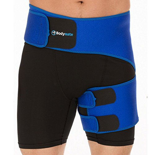 BODYMATE Compression Brace for Hip, Sciatica Nerve Pain Relief Thigh Hamstring, Quadriceps, Joints, Arthritis, Groin Wrap for Pulled Muscles, Hip Strap, Sciatica Brace/SI Belt (Hip 32- 44, Blue)