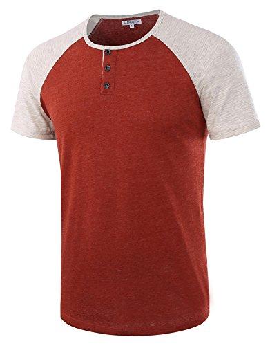 HARBETH Men's Casual Short Sleeve Henley Shirt Raglan Fit Baseball T-Shirts Tee H.Rusty/H.Oatmeal M