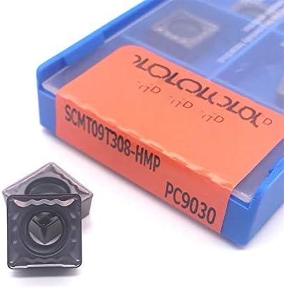 Txrh Drehbank SCMT09T304 SCMT09T308 HMP PC9030 Drehwerkzeug CNC Hartmetalleinsatz for Edelstahl (Angle : 100PCS, Shank Diameter : SCMT09T304HMP PC9030)