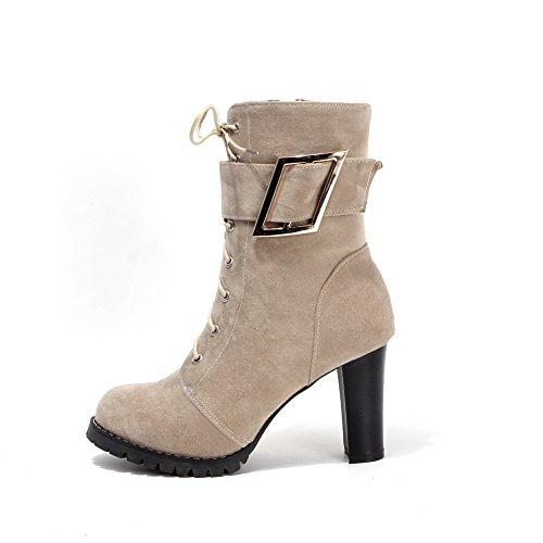 Boots Spenne 1to9 Beige Kvinners Frostet Hæler Bandasje Chunky wxqYxa6