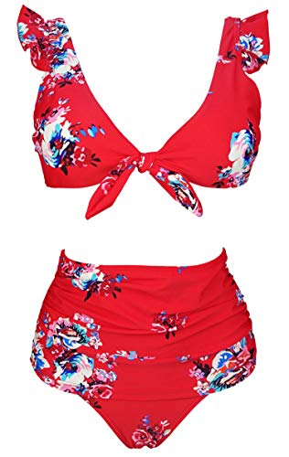 (COCOSHIP Red & White & Jade Pink Garden Floral High Waisted Shirred Bikini Set Tie Front Closure Top Ruffle Straps Swimsuits 4)