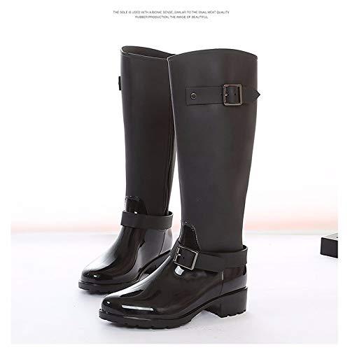 Black US8   EU39   UK6   CN39 Black US8   EU39   UK6   CN39 Women's shoes Rubber Fall Rain Boots Boots Chunky Heel Knee High Boots Black Burgundy