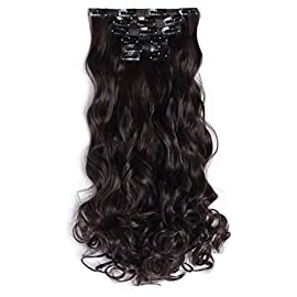 OneDor 20″ Curly Full Head Clip in Synthetic Hair Extensions 7pcs 140g (#99J Wine red)