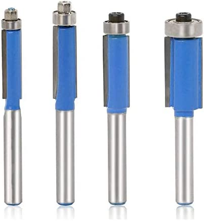 4Pcs Flush Trim Fräser Set 1/4 Zoll Schaft Top Flush Trim Router Bit Bearing