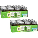 Ball Smooth Sided Wide Mouth Quart Jars 12 Pac | Freezer Safe. (16 OZ - SET OF 2)