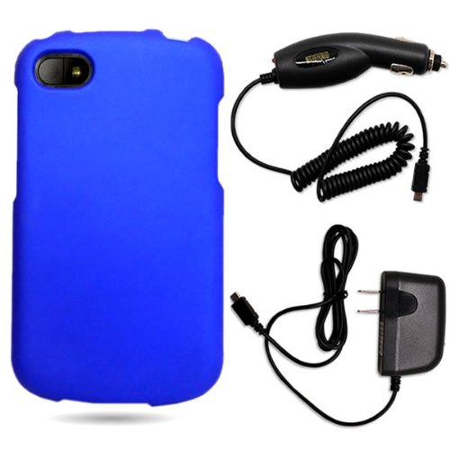 CoverON® Blackberry Q10 Hard Rubberized Slim Case Bundle with Black Micro USB Home Charger & Car Charger - Blue