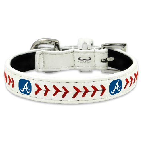 MLB Atlanta Braves Classic Leather Baseball Dog Collar (Toy)