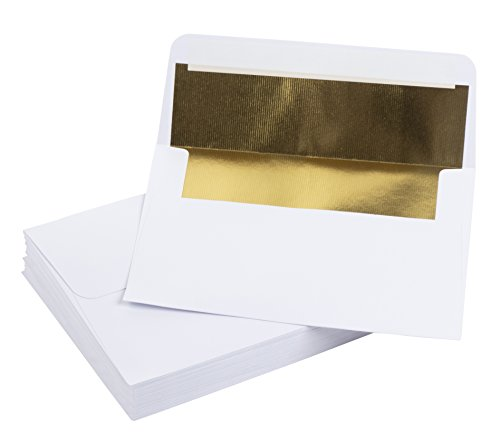 5x7 Envelopes for Invitation- 50-Pack A7 Gold Foil Lined Luxury Embossed Square Flap Envelopes, Envelopes for Announcements, Photos, Wedding, Graduation, Birthday, White with Gold Foil