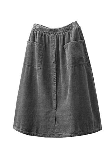 (Minibee Women's Corduroy Midi Skirt Front Split Buttons A-Line Dress (L, Gray))