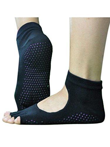 1 Paar Unisex Damen Herren ZehenSocken Yogasocken offene Zehen Socken Schwarz