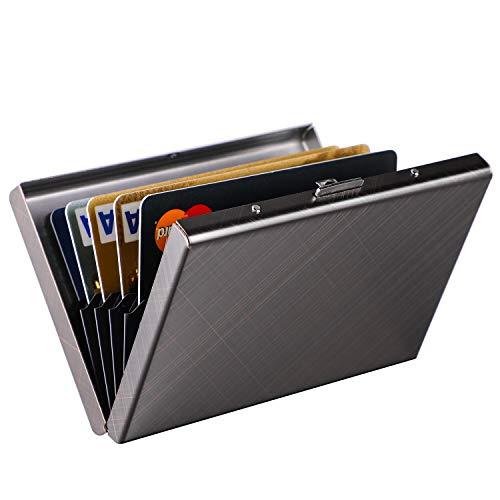 RFID Credit Card Holder Protector MaxGear Stainless Steel Credit Card Wallet Slim RFID Metal Credit Card Case for Women or Men Grid