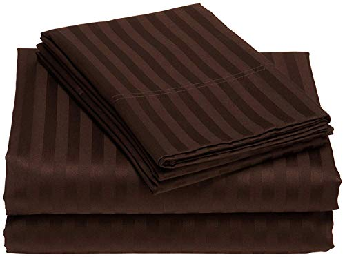 Bed Sheet Set 800 Thread Count 100% Cotton 4PCs Sheets Chocolate Stripe Cal-King Size Sheets Long Staple Cotton Fits Mattress Up to 15