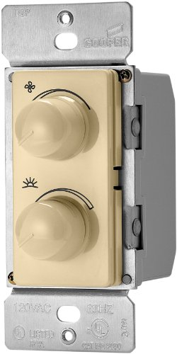 Eaton RDC25-V-K 2.5-Amp Single-Pole Combination Quiet 3-Speed Fan Control and 300-Watt Dimmer, Ivory (Dial Control 3 Speed Fan)
